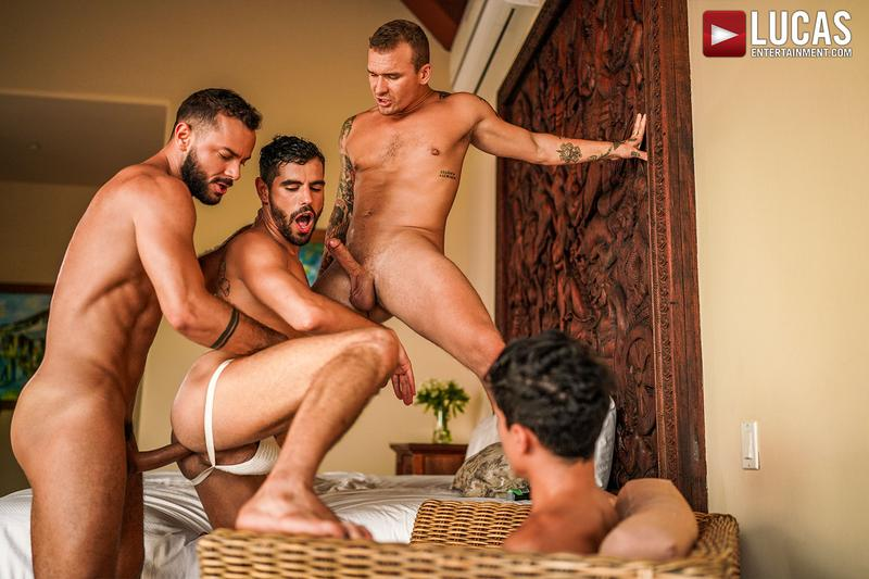 Horny muscle hunks Sir Peter Isaac X spit roast Valentin Amour lover Joaquin Santana watches Lucas Entertainment 24 gay porn image - Horny muscle hunks Sir Peter and Isaac X spit-roast Valentin Amour as lover Joaquin Santana watches at Lucas Entertainment