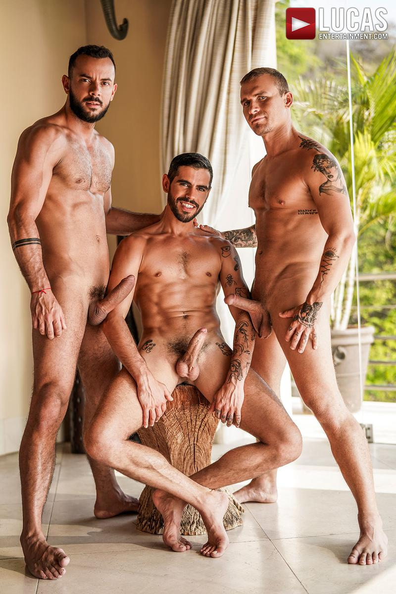 Horny muscle hunks Sir Peter Isaac X spit roast Valentin Amour lover Joaquin Santana watches Lucas Entertainment 4 gay porn image - Horny muscle hunks Sir Peter and Isaac X spit-roast Valentin Amour as lover Joaquin Santana watches at Lucas Entertainment